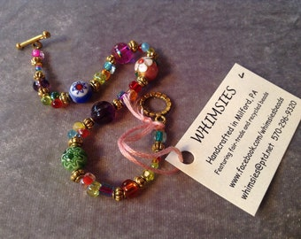 Glass beaded bracelet, size LARGE. multicolor, Boho, hippie, fair trade, gift, free shipping. Made in USA.