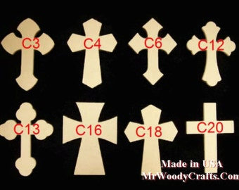 "5 9"" x 12"" 1/2"" Thick Unfinished Wooden Crosses, Choose from 8 different styles, Ready to Paint, w/key holes. 091250-5"