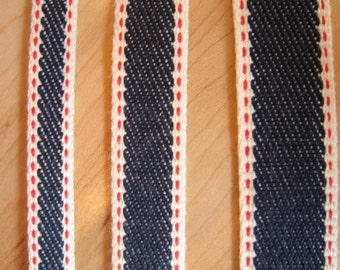 Denim Ribbon Trim Made in Japan, By The Yard, Selvedge Denim