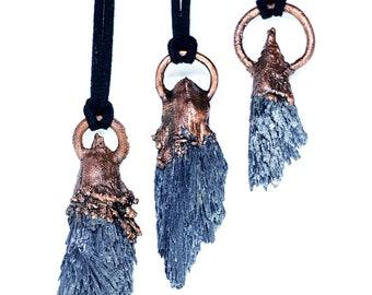 Black kyanite pendants