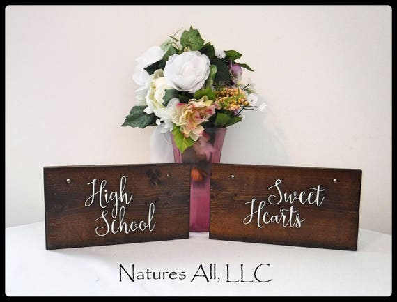 Rustic Wedding Sign/High School Sweet Hearts Chair Signs/Wood Wedding Signs For Bride And Groom Table Chairs/ Hand Painted Wedding Sign