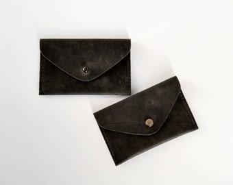Leder Visitenkarten Etui Mini Geldbörse  Leder Brieftasche  für Herren für Damen Vintage schwarz Unisex