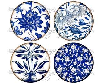 Cobalt & Indigo asiatique feuillage - feuille de Collage numérique - cercles 2,5 pouces avec asiatique porcelaine bleue (2) pour le miroir de poche - téléchargement immédiat