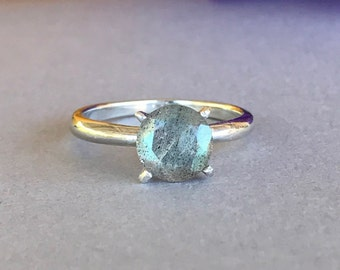 Natural Labradorite Ring, 925 Sterling Silver Round Faceted Labradorite Genuine Stone Engagement And Promise Solitaire Ring