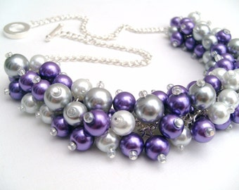 Purple Pearl Beaded Necklace with Gray and White, Bridesmaid Jewelry Sets, Cluster Necklace, Chunky Necklace, Bridesmaid Gift Summer Wedding