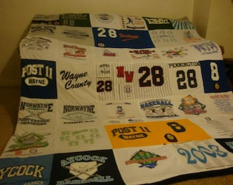 Baseball T-Shirt Memory Blanket - Custom Unlimited amount of Items and Size