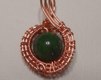 Copper wire wrapped Green Jasper Stone Pendant
