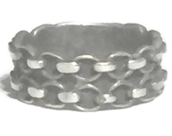 Vintage Chain Ring Size 9 Plus Southwest Women Ring Size 9 Bikers Ring Size 9 Sterling Silver Ring BoHo Ring Size 9 Chain Link  Bicycle Ring