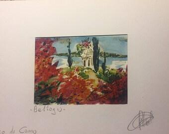 Bellagio. Lake Como. Acquarellata printing by hand. Watercolors Lake Como. Watercolorlakeitaly. Lakeitaly. Italianlandscape. Watercolorprint