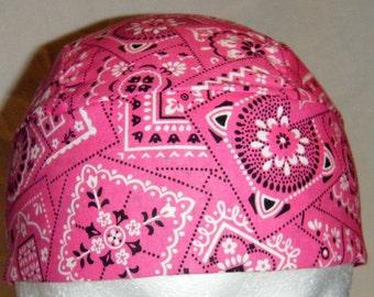 Pink Bandana Skull Cap, Chemo Cap, Motorcycles, Hats, Do Rag, Hair Loss, Helmet Liner, Bald, Surgical Cap, Cow Girl, Handmade, Alopecia,