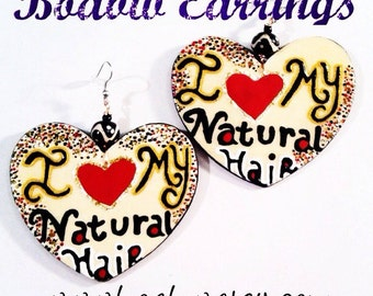I love my Natural Hair Earrings (Hand Painted Earrings) Wearable Art