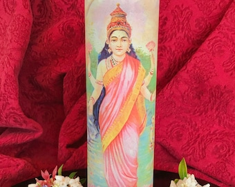 Lakshmi Candle / Prayer candle / Candle lover gift / Unique candle gifts / 7 day candle / Goddess candle /Novena candle /Glass pillar candle