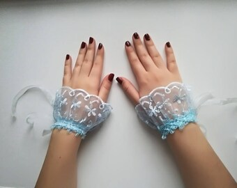 Something Blue Bracelets Lace Wristbands Lace Bracelet, Blue Lace wrist cuff bracelet, lace cuffs bridesmaid Wedding accessories