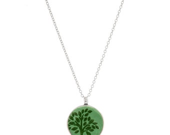 Tree of Life Enamel Long Chain Necklace