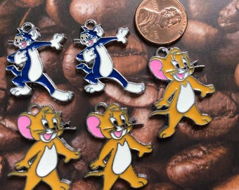 SET of 5 Tom and Jerry Classic Enamel Metal Charms/ Pendant/Earrings /Jewelry Making/DIY
