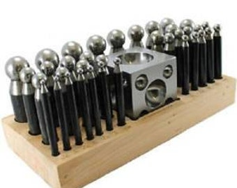 37 pc Doming Block and Punch Set made of Steel Dapping metal shaping tool Free P&P