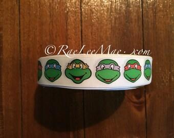 """Teenage mutant ninja turtles ribbon 1"""" 25mm/ grossgrain ninja turtles Inspired ribbon/ninja turtles hair bow ribbon/ninja turtles party"""