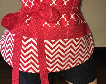 Red and White Half Waist Pocket Apron
