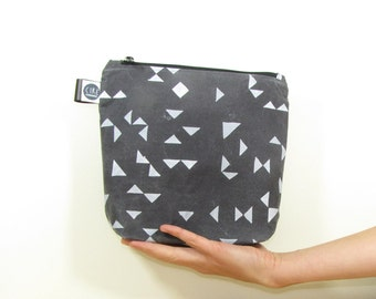 Medium waxed canvas wash-bag, dyed naturally with tea, grey with screen printed triangles, geometrical pattern, large make up bag