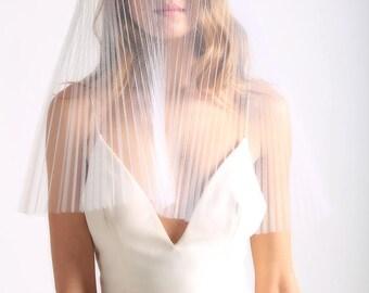 PLEATED TULLE VEIL - pleated veil - tulle veil - short tulle veil - blusher veil - tulle veil - short veil - textured veil - ivory veil