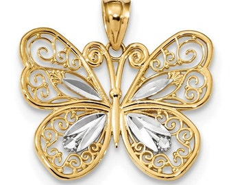 14k gold two tone butterfly pendant.