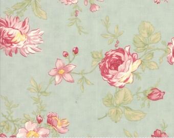 Poetry Fabric - Moda Fabric - Half Yard - Romantic Blooms Mist Aqua Floral Flowers Roses Pink Aqua Large Scale Print 3 Sisters 44130 14