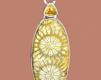"Fossilized Coral 2-1/8"" Oval Cabochon with Triangular Faceted Citrine Pendant for Wise Financial Planning"