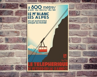 Veyrier cable car. Vintage poster. PLM poster. Mont Blanc poster. Annecy lake poster.