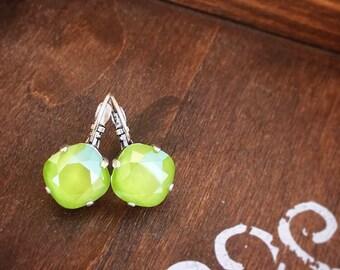 Swarovski Crystal Drop Earrings in Lime