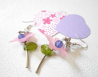 Stud Earrings featuring a flower in pastel colors