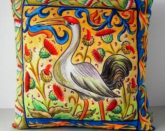 Stork Handmade Cushion Cover