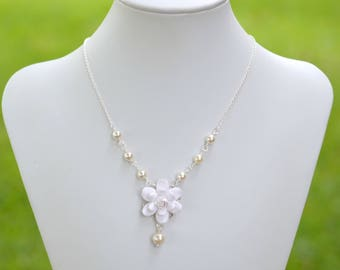 White Gardenia Necklace, White Flower Necklace, White Floral Jewelry, White Bridal Jewelry, Gardenia Necklace
