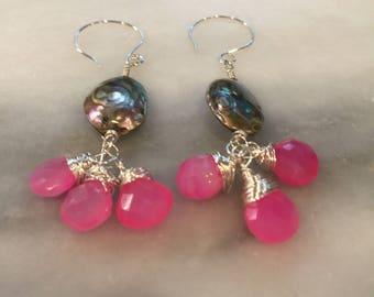 Abalone teardrop and Pink Chalcedony Dangle Earrings  paua shell   Boho Jewelry  Chandeliers   summer jewelry   cruise wear  free shipping