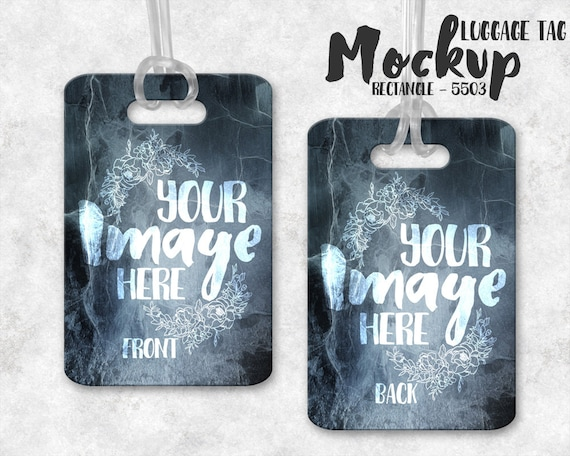 Wide Rectangle Luggage Tag Mockup Template Bag Tag Template