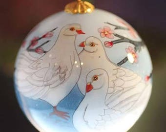 Asian Glass Ornament of Doves
