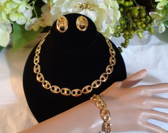 Gold Plated Link Necklace Bracelet Clip on Earrings Set Heavy Earrings are signed PAOLO