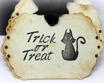 Halloween Gift Tags (Double Layered) - Trick or Treat Tags - Black Cat Tags - Vintage Inspired Handmade Tags (Set of 8)