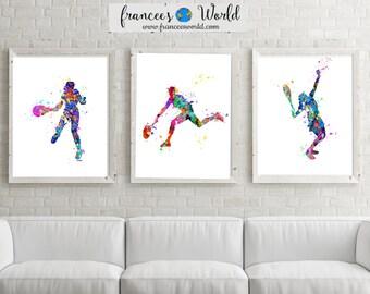 Girl Tennis Printable,  SET of 3 Tennis art, Girl tennis watercolor, girl tennis print, girl tennis player gift, tennis player art