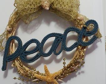 Peace Christmas Beachy Wreath