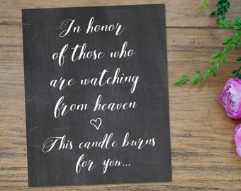 This Candle Burns Sign In Loving Memory, Memorial Wedding Sign, In Loving Memory Wedding