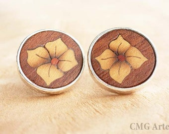 Flower earrings, Silver earrings, Wooden earrings, Wood earrings, Wood flowers, Wooden jewelry, Wood inlay, Post earrings, Jewelry women