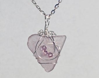 """Rare Maine Lavender Sea Glass Pendant w/ Swarovski crystals 20"""" chain"""