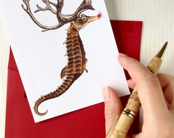 Christmas Card Set, Nautical Christmas Cards, Funny Christmas Card, Christmas Card, Seahorse Christmas Card, Holiday cards