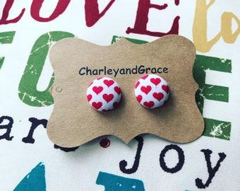 Hearts button earrings