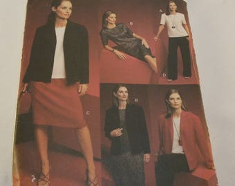 Vogue Pattern 7686 Misses Petite Jacket Top Dress Skirt and Pants Size: 8-10-12 Five Easy Pieces