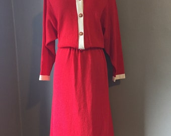 Vintage sweater dress/Plus size/Red,white/collared/50s/XL/2X