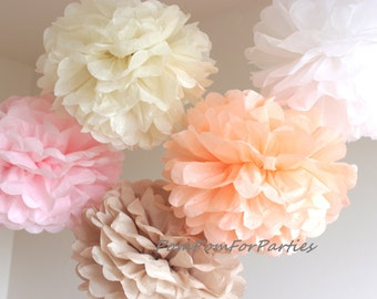 Set of 12 (6L/6M) Hanging Tissue Pom Poms - Baptism - Christening - Wedding - Baby shower - Bridal - Birthday party decoratio