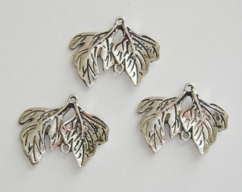 10-Branch Leaf Charm Pendant Connector Antiqued Silver.