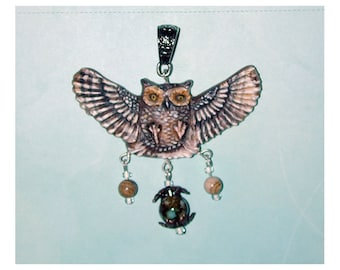 Great Horned Owl In Flight Handmade Pendant s