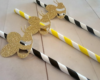 Bee Straws, Bumble Bee Party Decorations, Bumble Bee Birthday, Bee Bridal Shower, Bee Baby Shower, Mommy to Bee, Bride to Bee, Bee Decor
